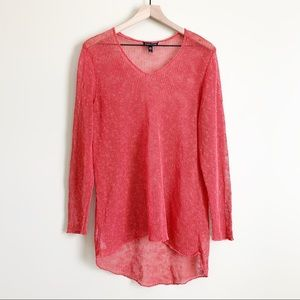 Eileen Fisher V-Neck Open Stitch Knit Top Coral L